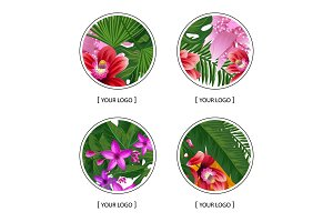 Vector tropical palm leaves and exotic flower elements round logo symbols