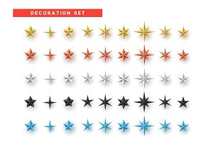 Stars set of different colors isolated on white background.