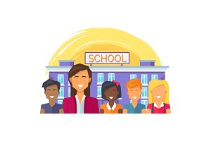 School Teacher and Children Vector Illustration