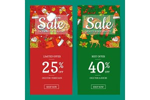 Vector hand drawn colored christmas elements with santa, xmas tree, gifts and bells sale banner