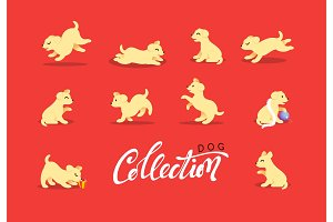 Set of happy dog illustration. Chinese 2018 Year yellow earth dog.