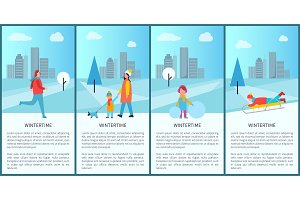 Wintertime Fun Set of Posters Vector Illustration