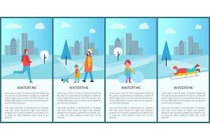Wintertime Fun Set of Posters Vector Illustration