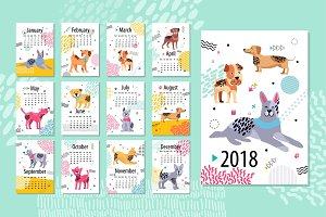Calendar Sample 2018 Animal Vector Illustration