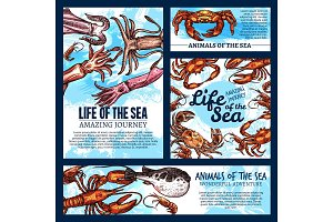 Vector sea life posters of sketch fish animals