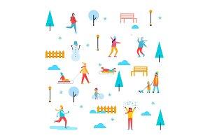 Wintertime Outdoor Activities Vector Illustration