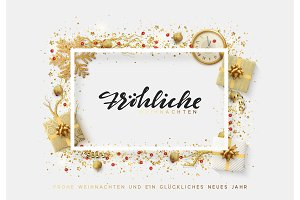 German text Frohliche Weihnachten. Christmas bright background with golden Xmas decorations.