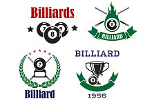Pool or billiards icons with cue
