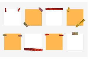 Set isolated colorful blank note papers on white background