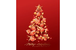 Christmas greeting card. Creative composition in shape Xmas tree, with elegant stars and baubles balls