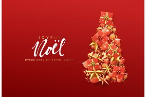 French text Joyeux Noel. Christmas greeting card.