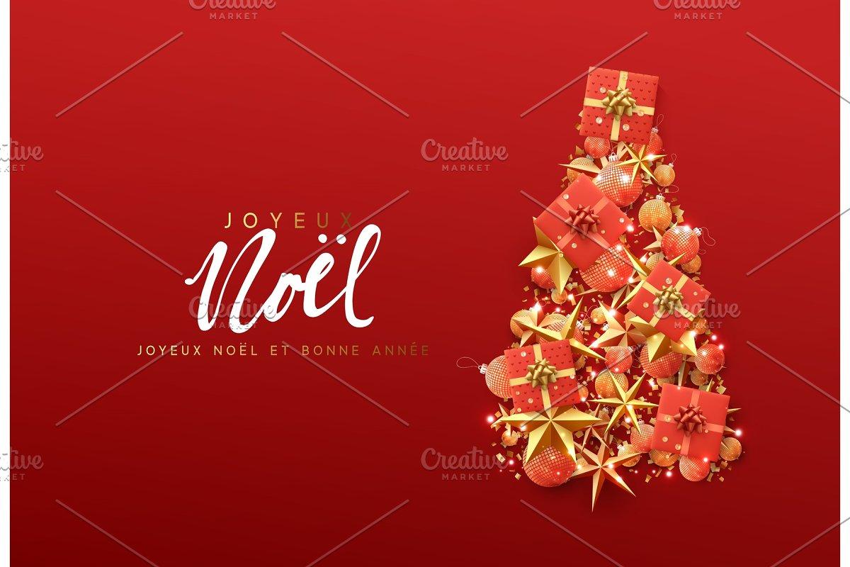 French Text Joyeux Noel Christmas Greeting Card Illustrations