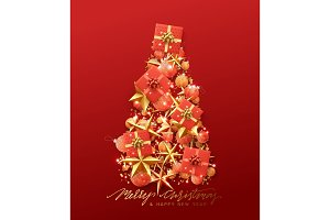 Christmas greeting card. Creative composition in shape Xmas tree, with elegant stars and baubles balls, boxes gift