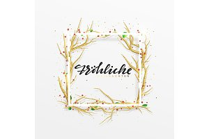 German text Frohliche Weihnachten. Merry Christmas greeting cards.