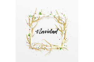 Spanish text Feliz Navidad. Merry Christmas greeting cards. Xmas background with decor elements golden branches from trees