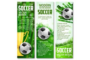 Vector football banners for soccer sport