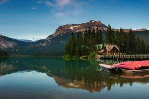 Canoes on beautiful Emerald Lake in Yoho National Park, Canada