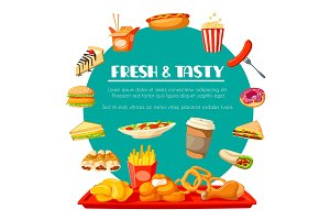 Fast food vector icons for fastfood restaurant