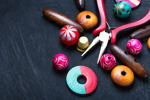 Bright wooden beads