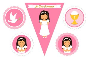 Cute set of printable elements for First Communion for girls