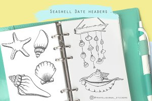 Seashell hand drawn clipart