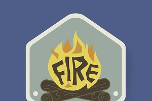 Bonfire Badge Camping Graphic vector