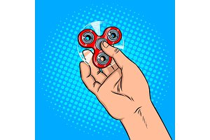 Spinner in hand pop art vector illustration