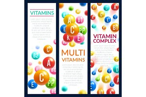 Vitamin and mineral complex pills vector banners