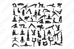 Yoga and Pilates Pose Silhouettes