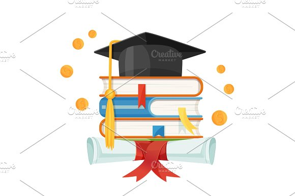 Mortarboard cap on piles of textbooks and diploma scroll