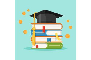 Degree square cap on piles of textbooks vector illustration