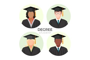 Degree student faceless avatars, males and female in mortarboard caps