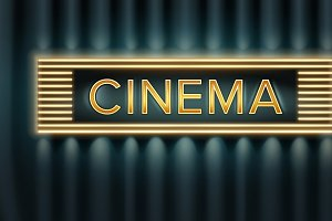 Illuminated cinema signboard