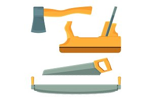 Deforestation tools set of icons on vector illustration
