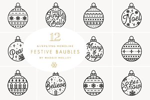 Festive Bauble Elements EPS PNG AI