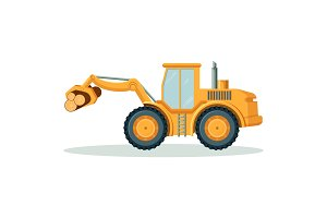 Modern yellow tractor that carries heavy logs isolated illustration
