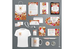 Advertising promo vector items for fast food