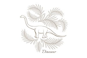 Huge herbivorous dinosaur surrounded with palm branches sketch