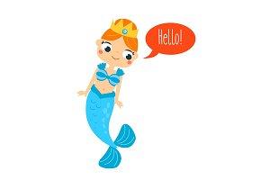 Cute mermaid saying hello