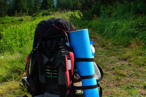 rucksack on path