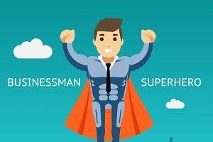 Cartooned Superhero Businessman