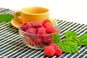 Still life with raspberries