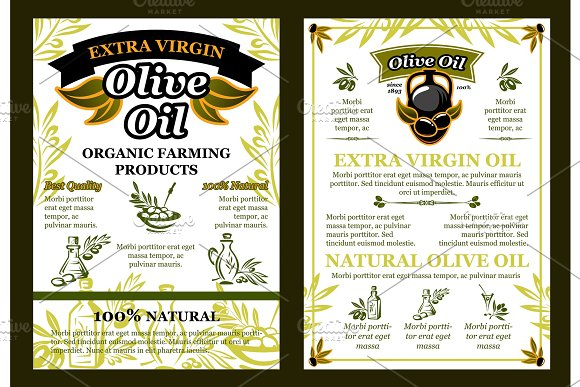 Vector Olives Poster For Organic Olive Oil