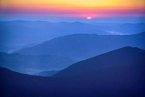 Amazing mountain sunrise
