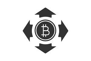 Bitcoin spending glyph icon