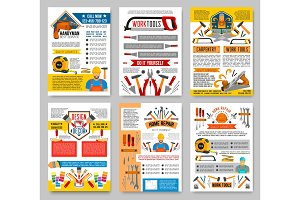 Vector house repair construction work tool posters