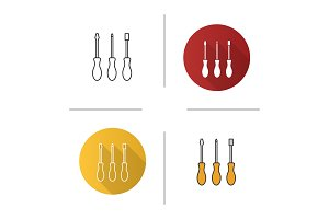 Set of screwdrivers icon