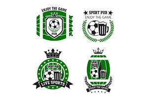 Vector icons for soccer bar or football sport pub