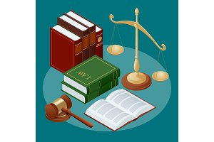Law and justice conept. Symbol of law and justice. Flat icon vector illustration.