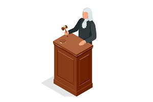 Isometric male judge in a wig with a hammer. Law and justice concept. Vector illustration.